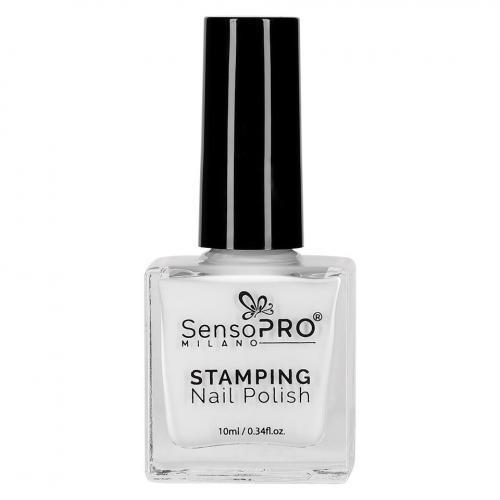 Lac de Unghii pentru Stampila - SensoPRO Milano - White 10ml - Produse Nail Art -  Oja Stampila Unghii