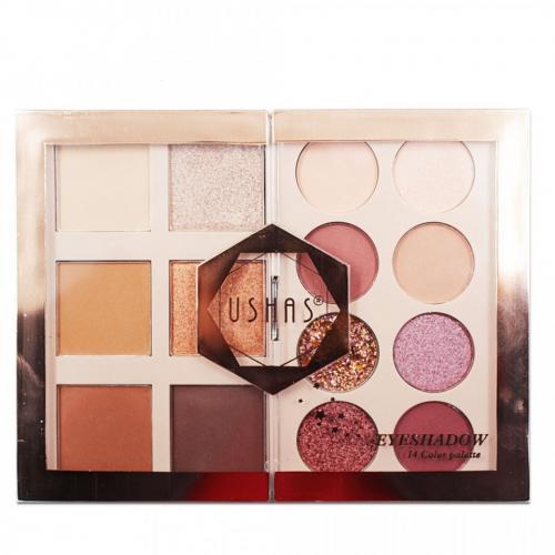Paleta farduri de pleoape Ushas 13 Color Palette 01 - Trusa Machiaj Glitter -