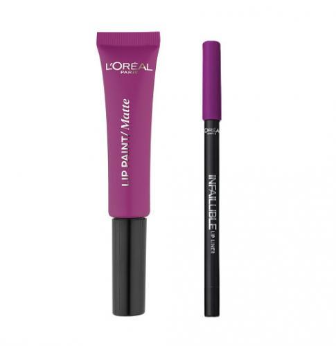Ruj de buze + Creion contur LOreal Lip Kit Paint 207 Wuthering Purple - Produse de Machiaj - Creion Buze