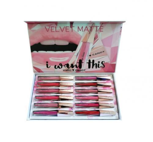 Set Rujuri de Buze Hard Candy Velvet Matte - 12 Bucati - Produse de Machiaj - Creion Buze